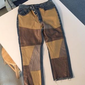 Incredible Leather Patchwork Vintage Levi's Jeans